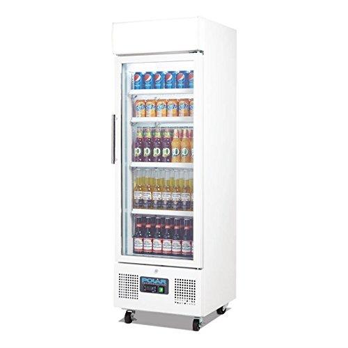 Flaschenkühlschrank, Getränkekühlschrank mit Rollen ideal für Dosen, Bierflaschen und PET Flaschen 220 Liter abschließbar mit Beleuchtung und Umluftkühlung, LED Display - 3