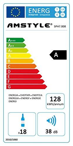 Amstyle Weinkühlschrank Slimline 1 Temperaturzone Klima-Zone Schwarz 53 Liter 18 Flachen Getränkekühlschrank 12-18°C Weinkühler Weinklimaschrank Glastür Freistehend Rot & Weißwein Höhe 95cm (EEK: A) -