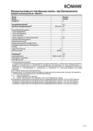 Bomann KB 389 Mini-Kühlschrank / A++ / 51 cm Höhe / 84 kWh/Jahr / 42 Liter Kühlteil / regelbarer Thermostat / Kühlmittel R600a silber -