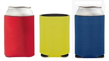 Faltbarer Dosenkühler für unterwegs - geeignet für 0,33l-Dosen - mit angenehm weichem Griff (Rot-Gelb-Dunkelblau) -
