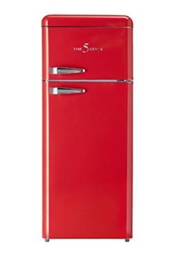 FIVE5Cents G215W / Kühlgefrierkombination / FERRARI ROT glänzend / Retro / Rot / Kühlschrank / KÜHL-GEFRIERKOMBINATION / Rippenlos / [Energieklasse A+] -