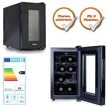 hochwertiger Weinkühlschrank | Weinkühler Getränkekühler | Minibar Kühlschrank | für 8x Weinflaschen | 21 Liter Volumen -
