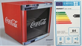 Husky HUS-CC 165 Coolcube Flaschenkühlschrank Coca-Cola / A+ / 51 cm Höhe / 84 kWh/Jahr / 50 L Kühlteil inkl. Reinigungstuch -