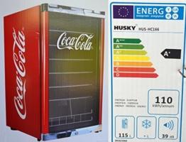Husky HUS-HC 166 Highcube Flaschenkühlschrank Coca-Cola / A+ / 83,5 cm Höhe / 110 kWh/Jahr / 130 L Kühlteil inkl. Reinigungstuch -
