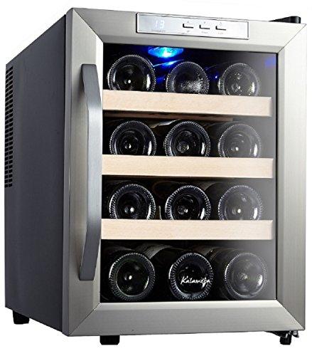 Kalamera KR-12ASS Edelstahl Weinkuehlschrank 33 Liter 12 Flasche Weinklimakuehschrank Minibar Freistehend Temperaturzonen 8-18'C -
