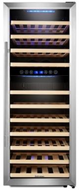 Kalamera KRC-73BSS Design Weinkühlschrank für bis zu 73 Flaschen (bis zu 310 mm Höhe),weinkühler mit Kompressor,zwei Temperaturzonen 5-10°C/10-18°C,(200 Liter, LED Bedienoberfläche, Edelstahl Glastür) -