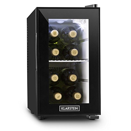Klarstein Beerlocker S Mini-Kühlschrank Minibar Getränke-Kühlschrank (21 Liter, Innenbeleuchtung, Regaleinschub, 70 Watt) schwarz -