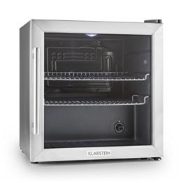 Klarstein Beersafe L Mini-Kühlschrank Minibar Getränkekühlschrank (50 Liter, 42 dB, 50 cm hoch, Edelstahl, Glastür, 2 Einschübe, Temperaturregler) schwarz-silber -