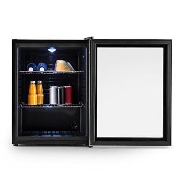 Klarstein Beersafe XL Mini-Kühlschrank Minibar Getränkekühlschrank (60 Liter, 42 dB, 63 cm hoch, Edelstahl, Glastür, 2 Einschübe, Temperaturregler) schwarz-silber -