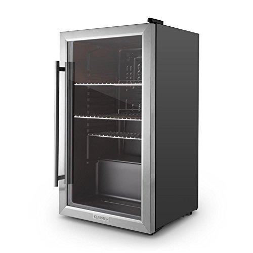 klarstein-beersafe-xxl-kuehlschrank-getraenkekuehlschrank-80-liter-fassungsvermoegen-edelstahl-glastuer-led-innenraumbeleuchtung-3-regaleinschuebe-schwarz-silber