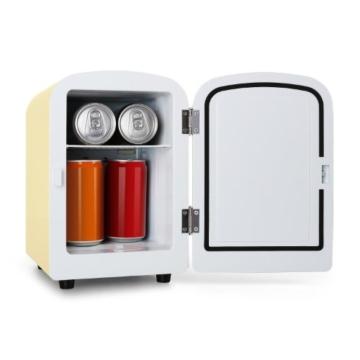 Klarstein Bella Taverna Mini Kühlschrank Getränkekühlschrank Warmhaltebox (4 Liter, Tragegriff, Netz- oder via 12 V-Betrieb, Regaleinschub) creme -