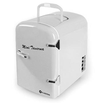 Klarstein Bella Taverna Mini Kühlschrank Getränkekühlschrank Warmhaltebox (4 Liter, Tragegriff, Netz- oder via 12 V-Betrieb, Regaleinschub) silber -