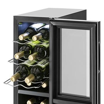 Klarstein Bellevin 16 Weinkühlschrank Getränkekühlschrank (45 Liter, 16 Flaschen, 2 Zonen, 6 Regaleinschübe, Touch-Bedienung, LCD-Display) schwarz -