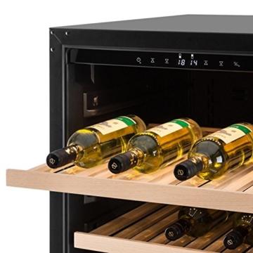 Klarstein Botella 120D Weinkühlschrank Weinkühler Getränkekühlschrank (2 Kühlzonen, 261 Liter, 122 Flaschen, Glastür, Innenbeleuchtung, Touch-Bedienfeld) silber -