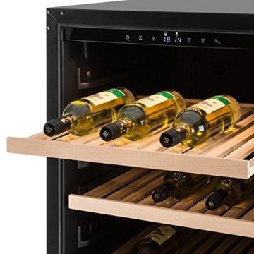 Klarstein Botella 120S Weinkühlschrank Weinkühler Getränkekühlschrank (270 Liter, 122 Flaschen, Touch-Bedienfeld, Innenbeleuchtung, Glastür mit Panoramaverglasung, 5 Regaleinschübe) silber -