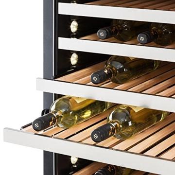 Klarstein Botella 300S Weinkühlschrank Getränkekühlschrank (642 Liter, 303 Flaschen, 18 Holz-Einschübe, LCD-Display) silber - schwarz -