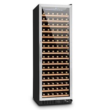 Klarstein Botella 450 Weinkühlschrank Weinkühler (428 Liter, 166 Weinflaschen, Touch-Bediensektion, LED-Innenbeleuchtung, 16 Holzeinschübe) silber -