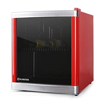 Klarstein Coollocker Mini-Weinkühlschrank Getränkekühlschrank (46 Liter, 32 dB, 50 cm hoch, doppelt isolierte Glastür) rot -