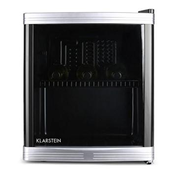 Klarstein Coollocker Mini-Weinkühlschrank Getränkekühlschrank (46 Liter, 32 dB, 50 cm hoch, doppelt isolierte Glastür) schwarz -