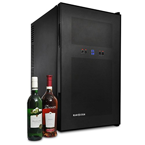 Klarstein Design Weinkühlschrank 2 Fächer - 1 Tür Getränkekühlschrank (schwarz Glas, Touchpad-Steuerung, LED Illumination, 68 L) -