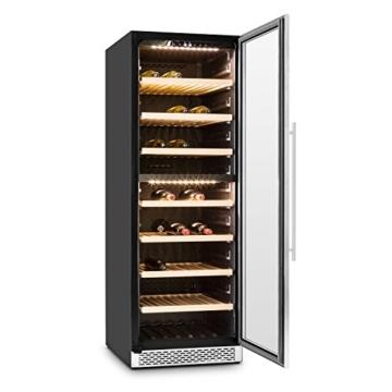 Klarstein Gran Reserva Weinkühlschrank Weinkühler (379 Liter, 166 Flaschen, 2 Kühlzonen, Touch-Bedienfeld, 7 Holzeinschübe, LED-Beleuchtung) silber -