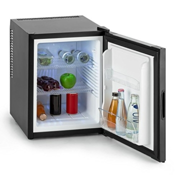 Klarstein Happy Hour Mini Kühlschrank Minibar Getränkekühlschrank (32 Liter, 5-stufig einstellbare Kühltemperatur, 2 Regaleinschübe, lautlos, Dekortür) schwarz -