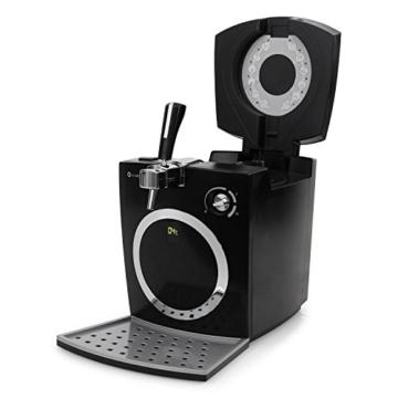 Klarstein Hopfenthal Schwarz Bierzapfanlage Zapfanlage (5 Liter, geräuscharme Kühlung, Pumpsystem ohne CO²-Patrone) silber -