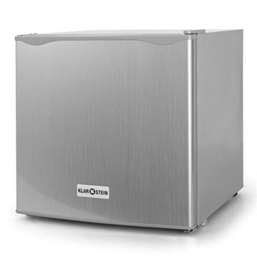 Klarstein Mini Kühlschrank Minibar Getränkekühlschrank (40 Liter Kühlfach, Eisfach, 39 dB leise, 49,5 cm hoch) silber -