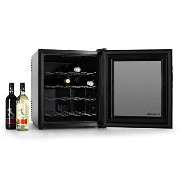 Klarstein MKS-1 Weinkühlschrank Mini-Kühlschrank Getränkekühlschrank (48 Liter, 16 Flaschen, Glas-Panorma-Tür, Touch-Bedienung, LED-Innen-Beleuchtung, leise 30db) schwarz -
