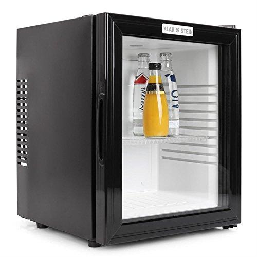 Klarstein MKS-12 Mini Kühlschrank Minibar Getränkekühlschrank (0 dB, 24 Liter, Glastür, 1 x Einschub) mattschwarz -