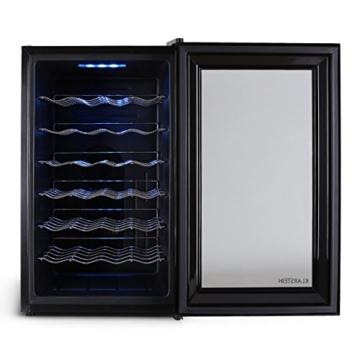 Klarstein MKS-2 Weinkühlschrank Getränkekühlschrank (70 Liter, 28 Flaschen, 6 Regaleinschübe, Touchpad-Steuerung, blaue LED-Beleuchtung) schwarz -