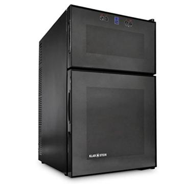 Klarstein MKS-3 Weinkühlschrank Getränkekühlschrank (68 Liter, 24 Flaschen, Touchpad-Steuerung, LCD-Display, 2-türig) schwarz -