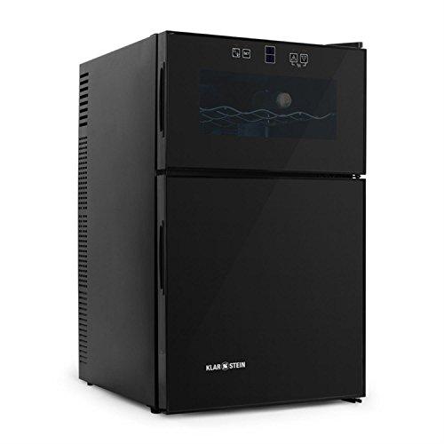 Klarstein MKS-7 Weinkühlschrank Minibar Getränkekühlschrank (70 Liter, 8 Flaschen, 2 Temperaturzonen, Touchpad, 2-türig) schwarz -