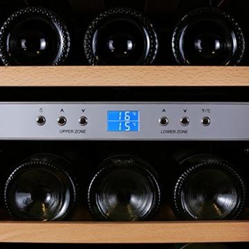 Klarstein Reserva 12 Weinkühlschrank Getränkekühlschrank (34 Liter, für 12 Flaschen, 2 Zonen, Glastür, LCD-Display) schwarz-silber -