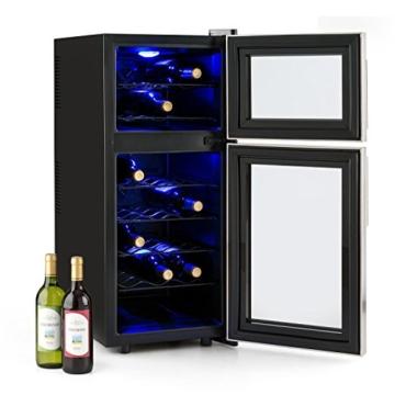 Klarstein Reserva 21 Weinkühlschrank Getränkekühlschrank (2 programmierbare Kühlzonen, 56 Liter, 21 Flaschen, Touch-Bediensektion, LCD-Display, blaue LED-Innenbeleuchtung) schwarz -