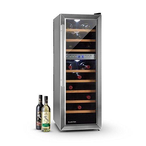 Klarstein Reserva 27D Weinkühlschrank Getränkekühlschrank (76 Liter, 27 Flaschen, 2 Zonen, 8 Holz-Einschübe, LCD-Display) mattschwarz -