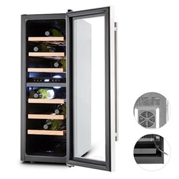 Klarstein Reserva Duett 12 Weinkühlschrank Getränkekühlschrank (65 Liter, 21 Flaschen, 2 Kühlzonen, LED-Beleuchtung, 6 Holz-Einschübe, LCD-Display) silber -