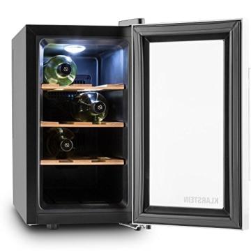 Klarstein Reserva Piccola Weinkühlschrank Weinkühler Getränkekühlschrank (25 Liter, 8 Flaschen, 3 Holzeinschübe, Touch-Bedienung, Glas-Tür, zuschaltbare Innenbeleuchtung, Temperatur Display) silber-schwarz -