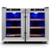 Klarstein Reserva Saloon Weinkühlschrank Weinkühler Getränkekühlschrank (2 separat regelbare Kühlzonen, 40 Liter, 12 Flaschen, LED-Anzeige, 2-türig, Beleuchtung, Glastüren) silber -