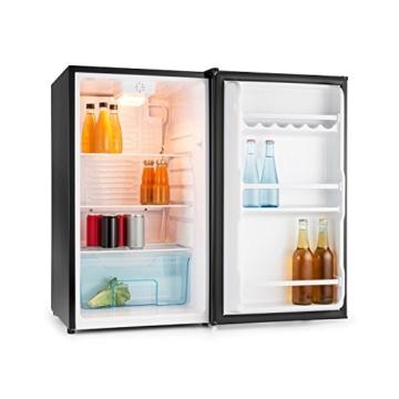 Klarstein Springfield Kühlschrank Getränkekühlschrank (112 Liter, 60 W, 3 Ebenen, herausnehmbares Gemüsefach, energiesparend) schwarz -