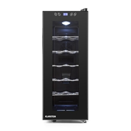 Klarstein Vinamora Weinkühlschrank Getränkekühlschrank (35 Liter, 12 Flaschen, LED-Beleuchtung, Touch-Bedienung, doppelt isolierte Glastür) schwarz -
