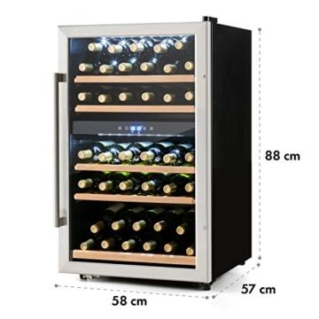 Klarstein Vinamour 40D Weinkühlschrank Getränkekühlschrank Kühlschrank (2 Kühlzonen, 135 Liter Volumen, bis zu 41 Flaschen, LCD-Anzeige, Touch-Bediensektion, Edelstahlfront) silber -