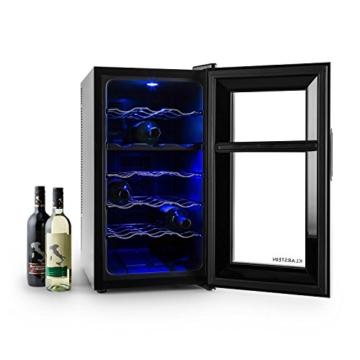 Klarstein Vinesse Weinkühlschrank Getränkekühlschrank Weintemperierschrank (52 Liter, 18 Flaschen, Touch-Bedienfeld, LCD-Display, Innen-Beleuchtung) schwarz -