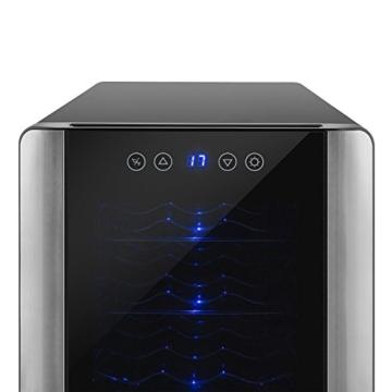 Klarstein Vinovista Weinkühlschrank Getränkekühlschrank (33 Liter, 12 Flaschen, 4 Etagen, blaue Innenbeleuchtung, LED-Display) schwarz -