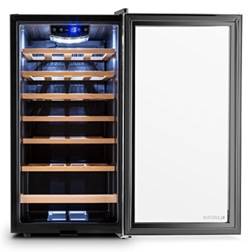 Klarstein Vivo Vino 26 Weinkühlschrank Getränkekühlschrank Weintemperierschrank (88 Liter, 26 Flaschen, Holz-Regaleinschübe, Glastür, LCD-Display, Innenbeleuchtung) schwarz-silber -