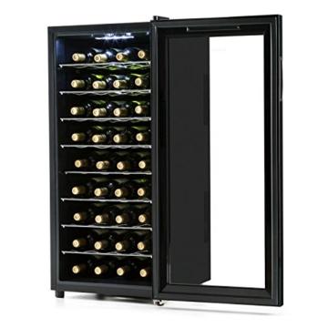 Klarstein Vivo Vino Weinkühlschrank Getränkekühlschrank (118 Liter, 36 Flaschen, thermoelektrisch, doppelt isolierte Glastür, 8 Regaleinschübe) schwarz -