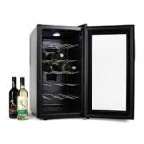 Klarstein Vivo Vino Weinkühlschrank Getränkekühlschrank (52 Liter, 18 Flaschen, 5 Regaleinschübe, LCD-Display) schwarz -