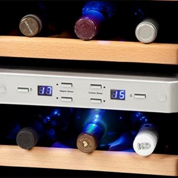 Luxus Weinkühlschrank | Weinkühler Getränkekühler | Minibar Kühlschrank | für 12x Weinflaschen | mit Echtholz-Regalsystem -