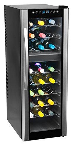 MEDION MD 37117 Weinkühlschrank Freistehend / C / 27 Flaschen / zwei Temperaturzonen / elektrische Temperatursteuerung /silber, schwarz -