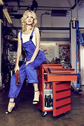 Mini-Kühlschrank für Getränke im retro Werkstattwagen-Look | blau, fahrbar, innovativ, stromsparend | exklusiver Werkstattwagen mit intigriertem Kühlschrank auf Rollen ohne Gefrierfach | Gastro Cool | 3-Schubladen -